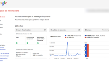 Nouveau tableau de bord et meilleure navigation au sein de Google Webmaster Tools – Messages et graphiques accessibles depuis le tableau de bord