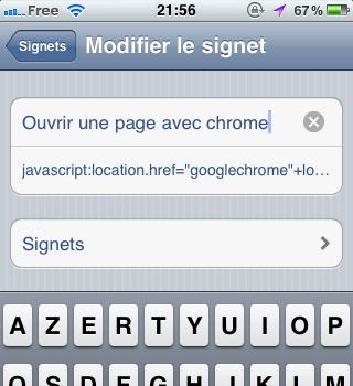 Ouvrir une page dans Chrome pour iOS sans jailbreak – Configuration du titre du signet