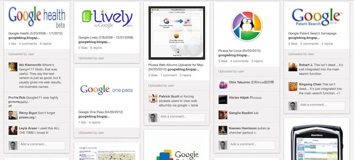Pinterest a un cimetière des produits et services abandonnés par Google
