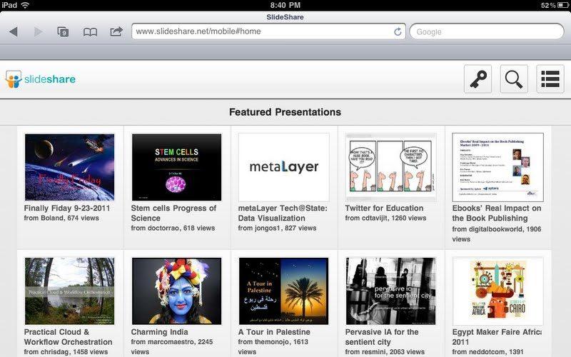 SlideShare laisse tomber le Flash, pour reconstruire entièrement son site en HTML5 – SlideShare sur iPad