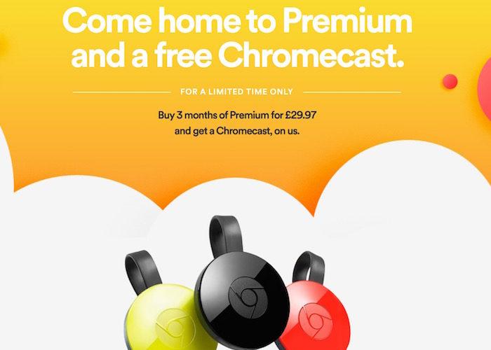 Spotify offre gratuitement un Chromecast pour tous les nouveaux abonnés