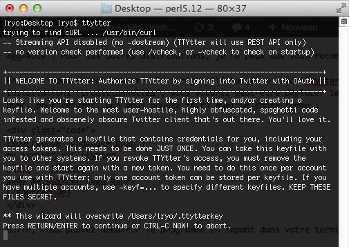 TTYtter, tweeter en ligne de commande - Lancement de ttytter dans le terminal