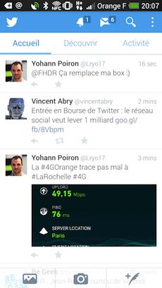 Accueil de Twitter bêta sur Android