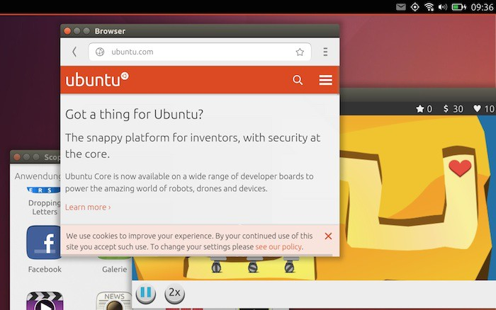 Ubuntu Touch : les applications peuvent fonctionner en mode fenêtré