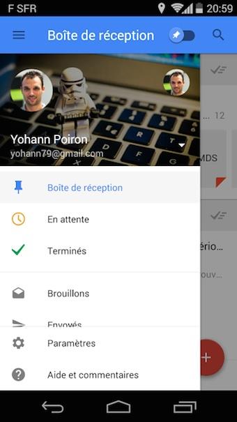 Menu latéral de Google Inbox