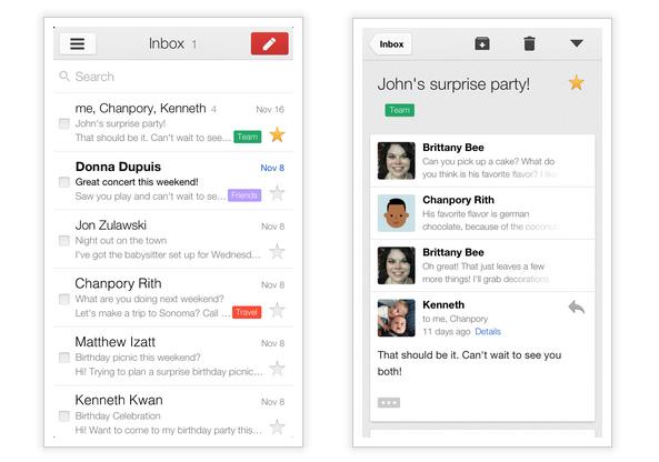 Une mise à jour de Gmail pour iOS avec une nouvelle apparence et de nouvelles fonctionnalités