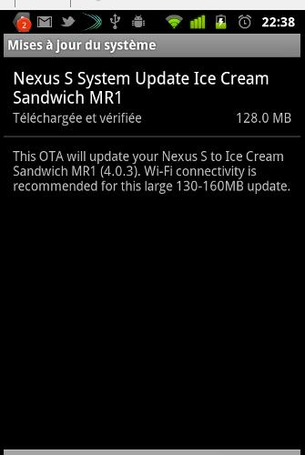Votre Nexus S sous Android Ice Cream Sandwich dès aujourd