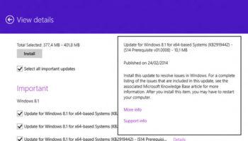 Des pré-requis sont nécessaires pour Windows 8.1 Update 1