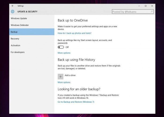 Windows 10 va améliorer les fonctionnalités de sauvegarde sur OneDrive