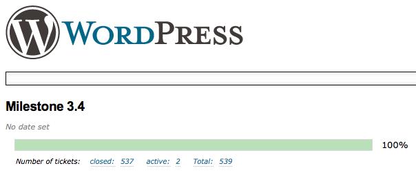 WordPress 3.4 Release Candidate dans les bacs – 500 tickets fermés pour cette nouvelle version de WordPress