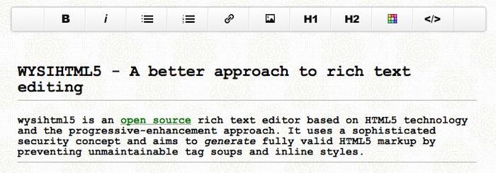 WYSIHTML5 : Un éditeur de texte riche Open Source basé sur l