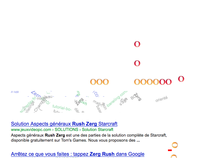 Zerg Rush un easter eggs made in Google