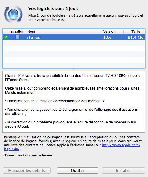 Apple propose en téléchargement iTunes 10.6
