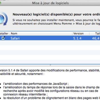 Mise à jour de Safari en 5.1.4 améliorant les performances JavaScript