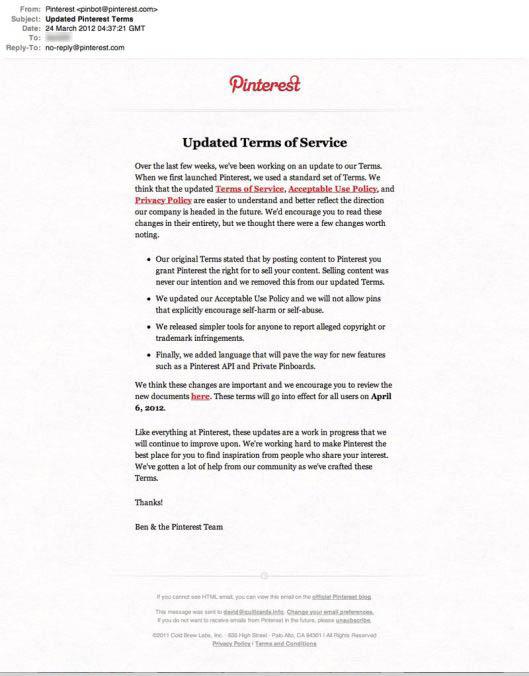 Pinterest, API en cours de développement et refonte des termes d
