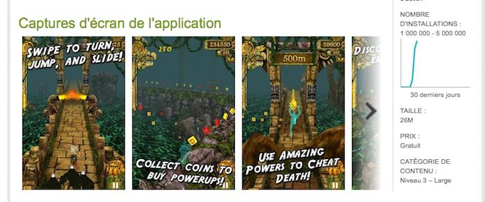 Temple Run, 1 million de téléchargements sur l