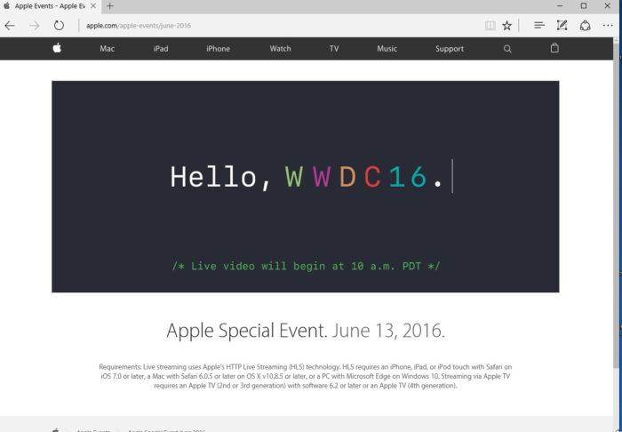 Il est possible de regarder la keynote d'Apple sur Microsoft Edge sur Windows 10