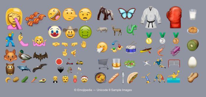 Voici la liste des nouveaux emojis apportés par l'Unicode 9