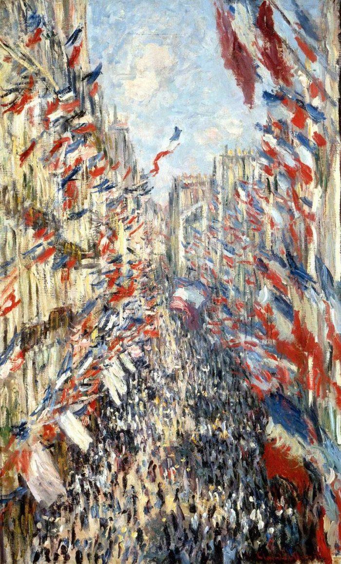 La Rue Montorgueil, fête nationale du 30 juin 1878, par Claude Monet