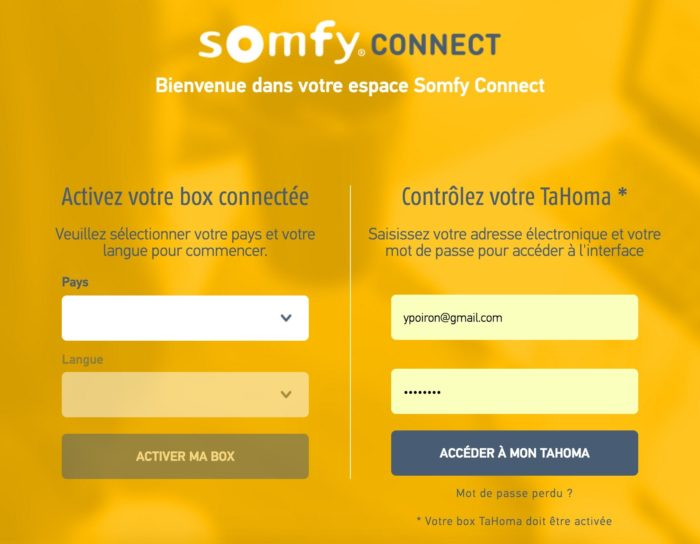 Somfy connect : création compte