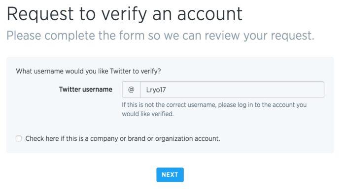 Demande de vérification d'un compte auprès de Twitter