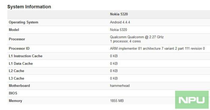 Benchmark Geekbench pour le Nokia 5320
