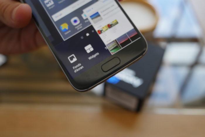 Samsung Galaxy S7 : bouton d'accueil avec capteur d'empreintes digitales