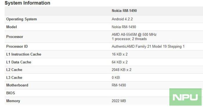 Benchmark Geekbench pour le Nokia RM-1490