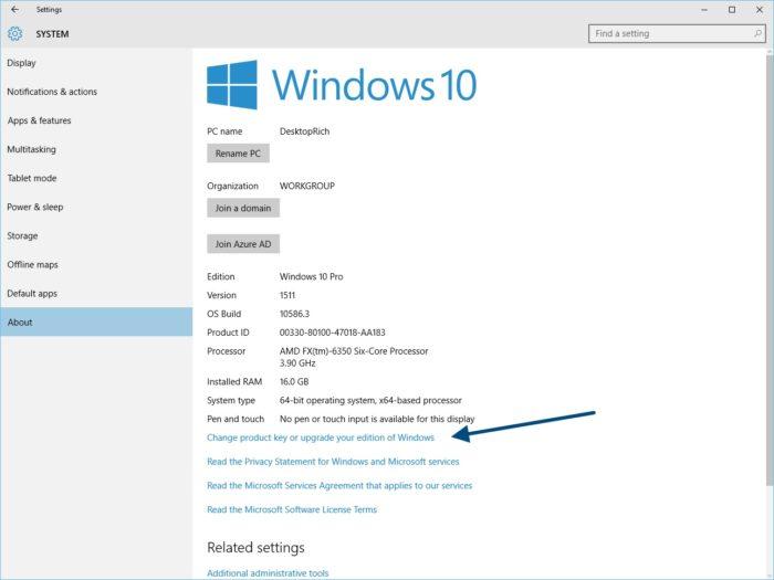 Vous pouvez toujours passer windows 10 en utilisant une for Window 10 product key