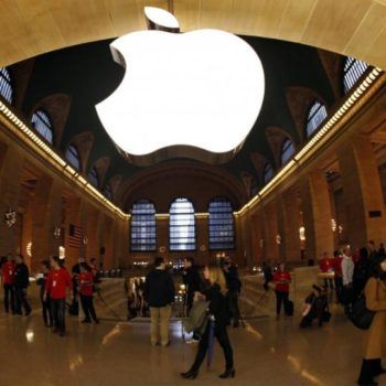 250415-the-apple-inc-logo-hangs-inside-the-newest-apple-store-in-new-york-cit