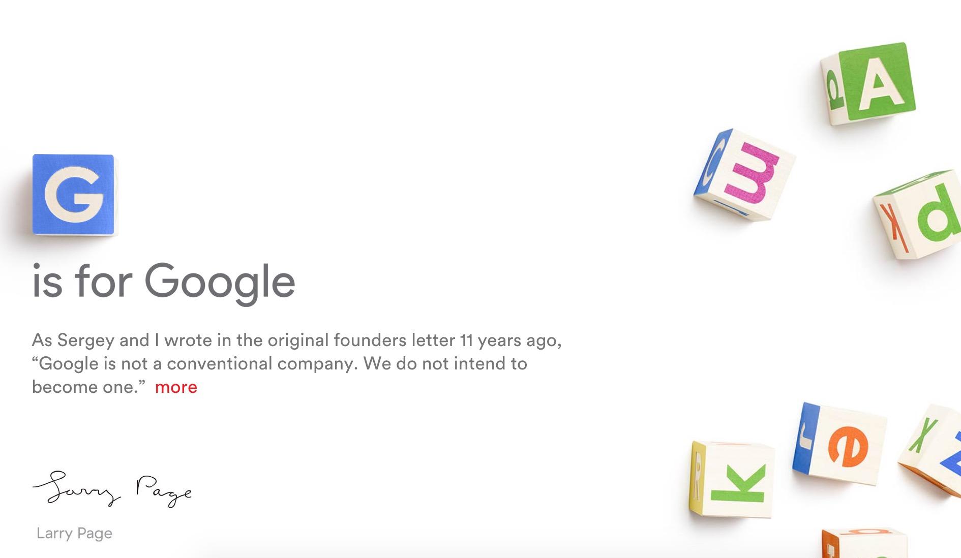 Google passe dans les mains de Alphabet en 2015