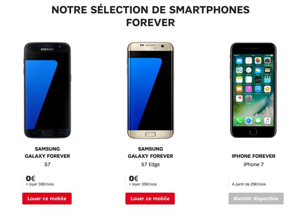 SFR propose désormais la location de smartphones iPhone 7