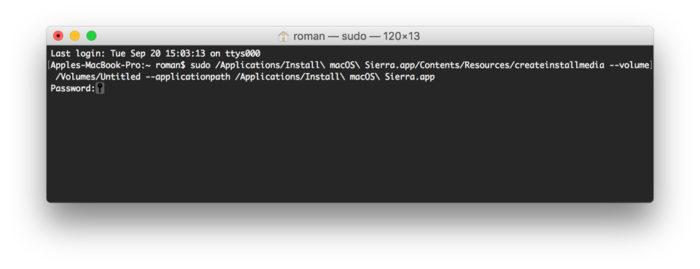 Installation de macOS Sierra depuis le terminal