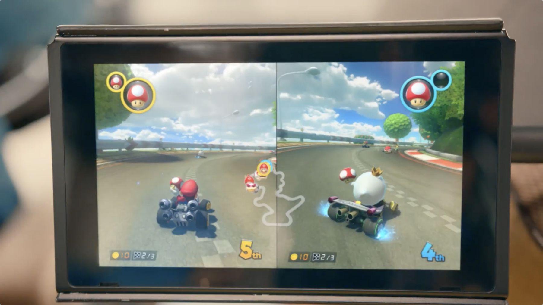 Nintendo Switch et Mario Kart en partage d'écran pour le multijoueurs