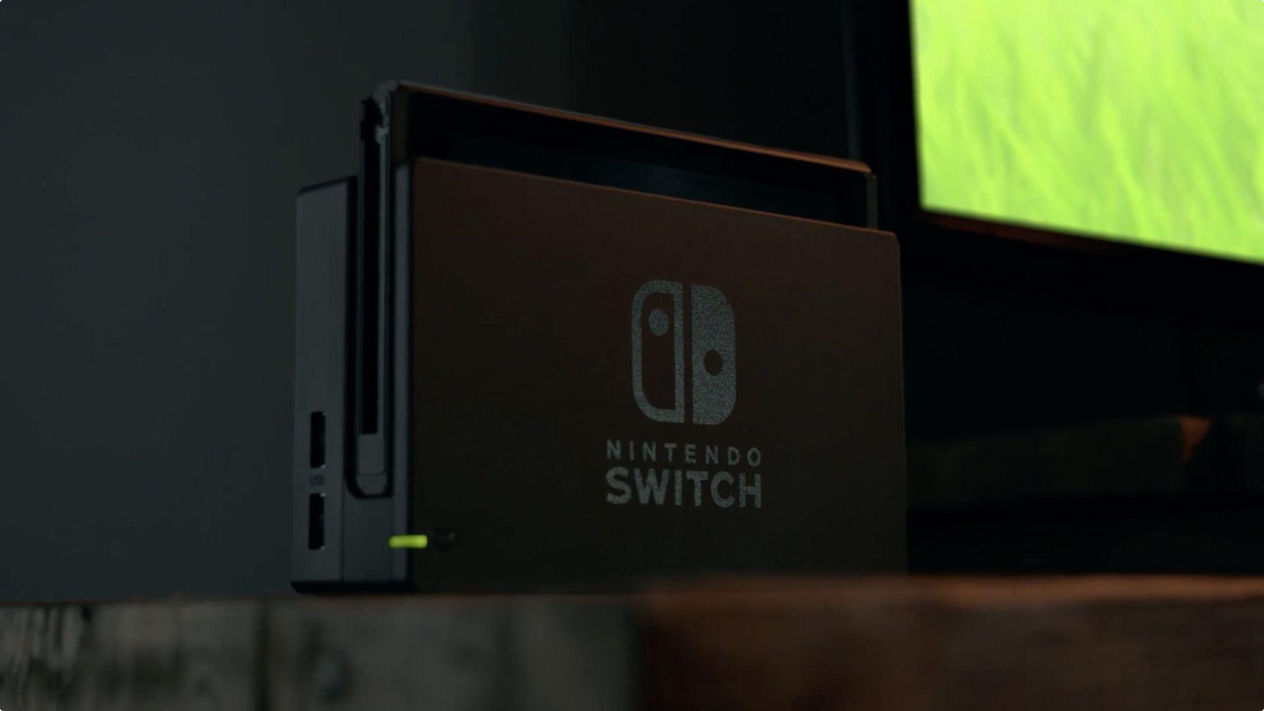 Nintendo Switch posée à côté d'un téléviseur