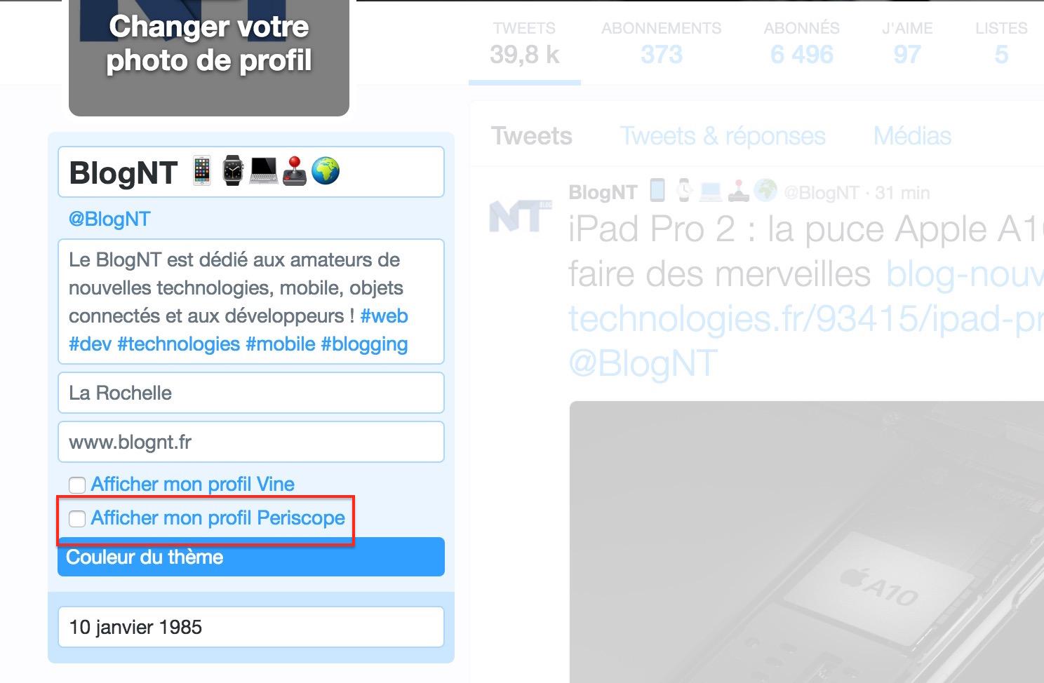 Twitter vous permet d'afficher votre profil Periscope