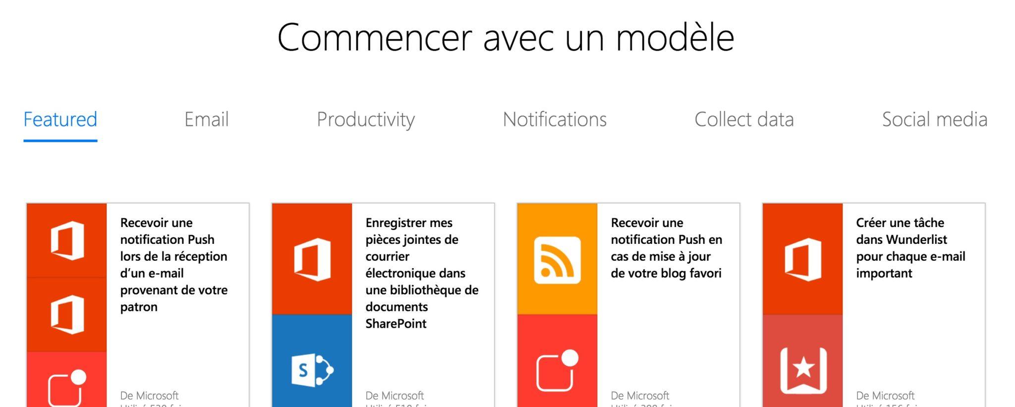 Microsoft Flow : choix d'un modèle parmi une liste de 58 services