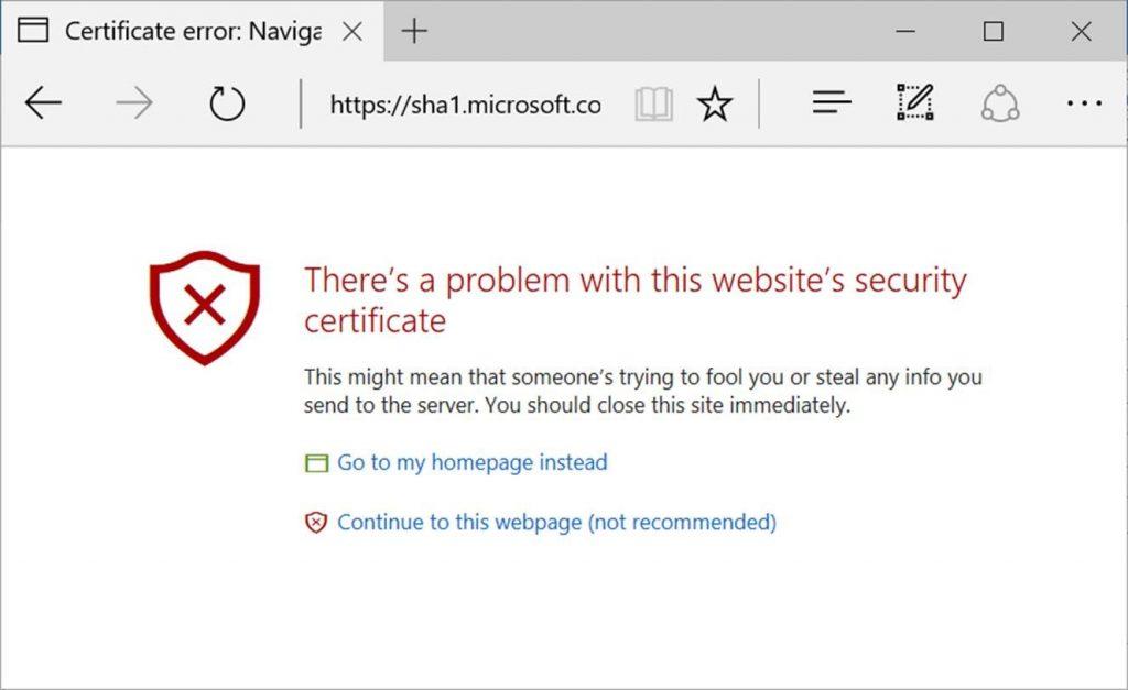 Microsoft Edge affichera un message d'erreur pour ceux utilisant encore le SHA-1
