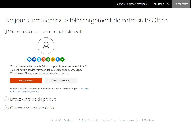 Office 365 : inscription ou connexion avec un compte Microsoft obligatoire