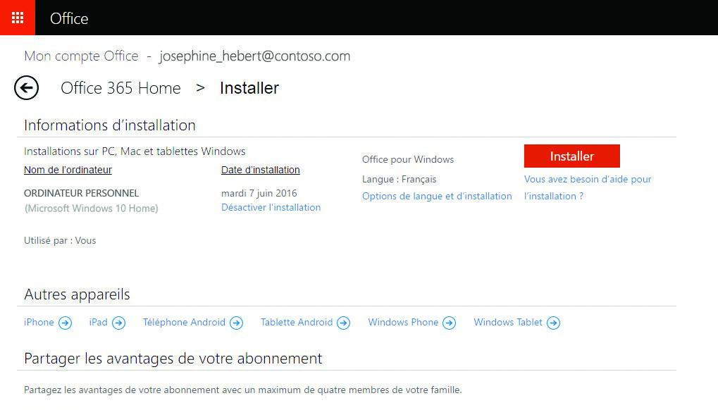 Office 365 : téléchargement sur le site de Microsoft