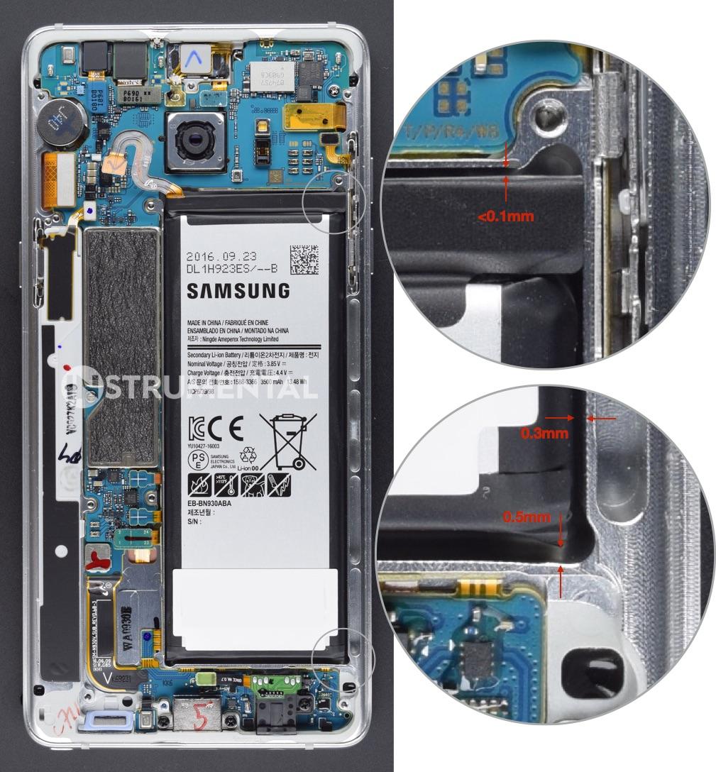 Teardown montre que l'espace entre le châssis et la batterie du Galaxy Note 7
