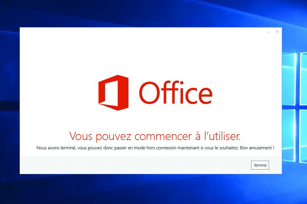 Office 365 : installation terminée