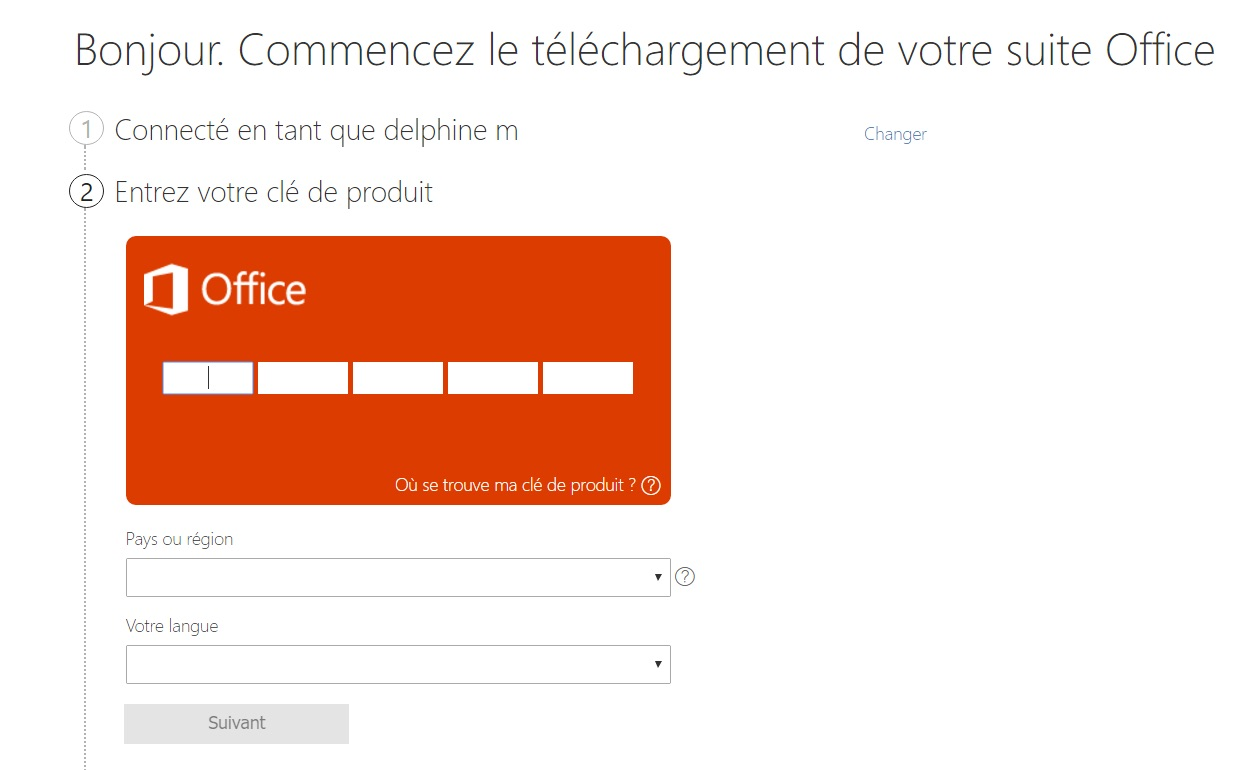Office 365 : renseigner le code d'activation