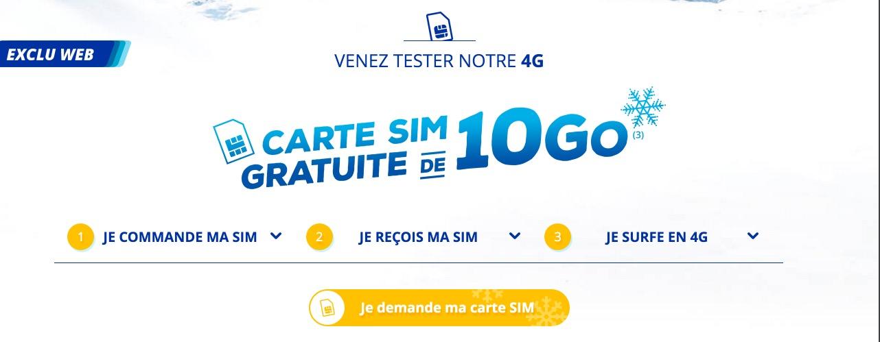 bouygues telecom offre gratuitement une carte sim avec 10 go d internet mobile. Black Bedroom Furniture Sets. Home Design Ideas
