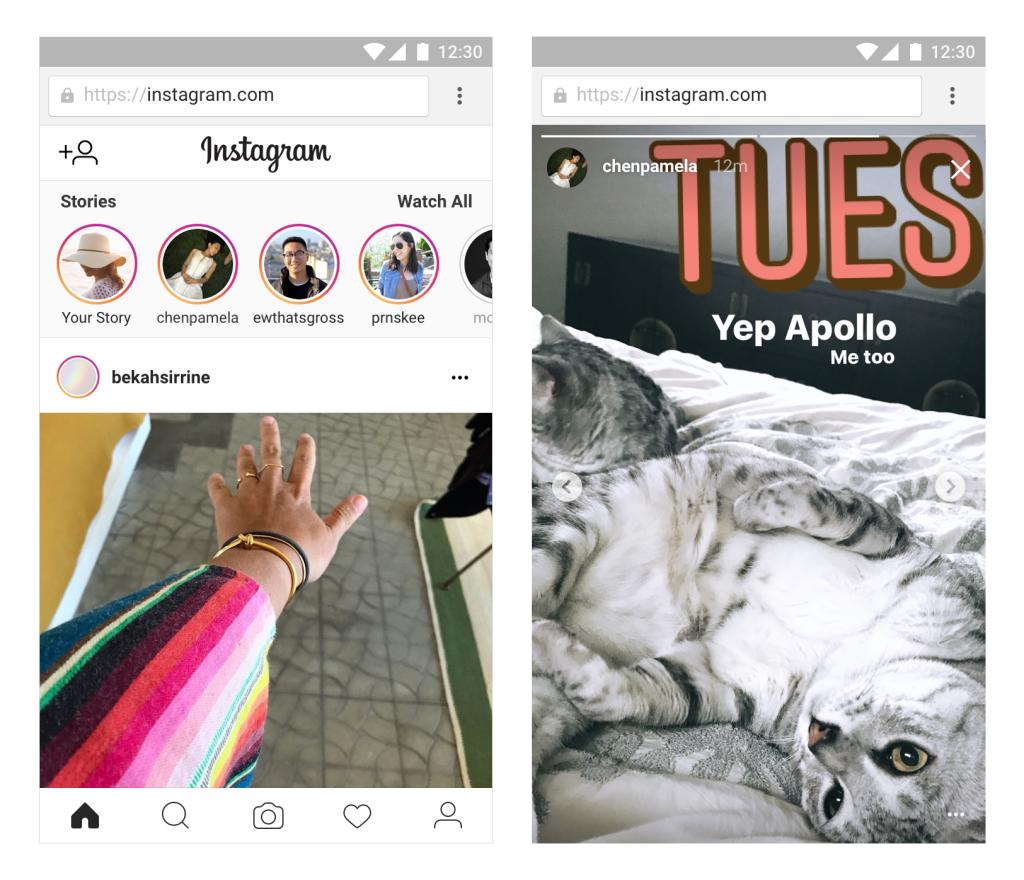 Instagram Stories accessibles depuis le web mobile