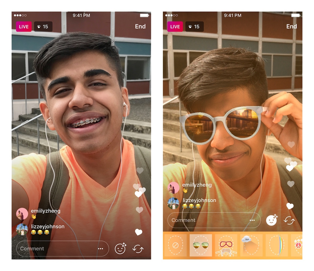 Les filtres animés dans la vidéo en direct — Instagram