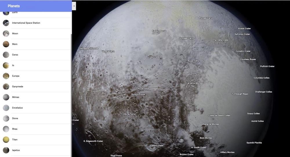 Avec Google Maps, il est désormais possible d'explorer les planètes