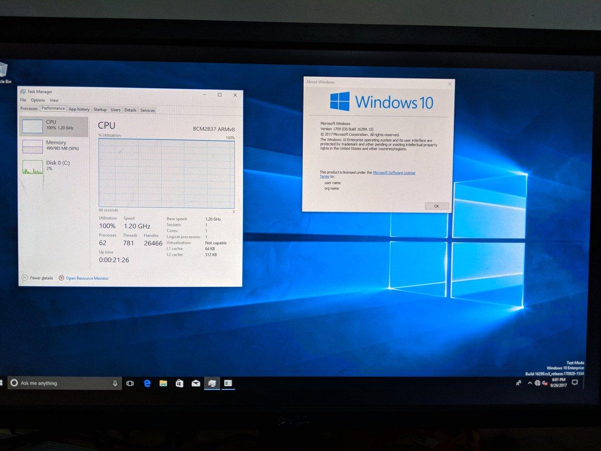 Il arrive à faire fonctionner Windows 10 sur un Raspberry Pi 3
