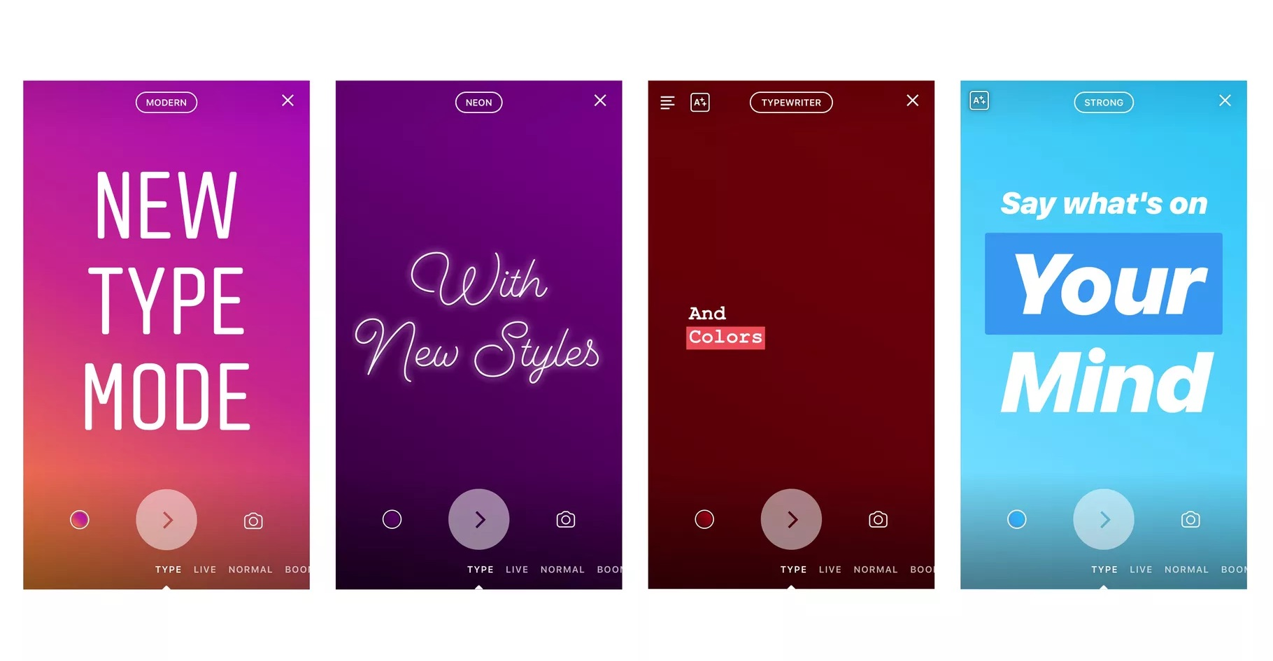 Un mode texte dans les Stories — Instagram