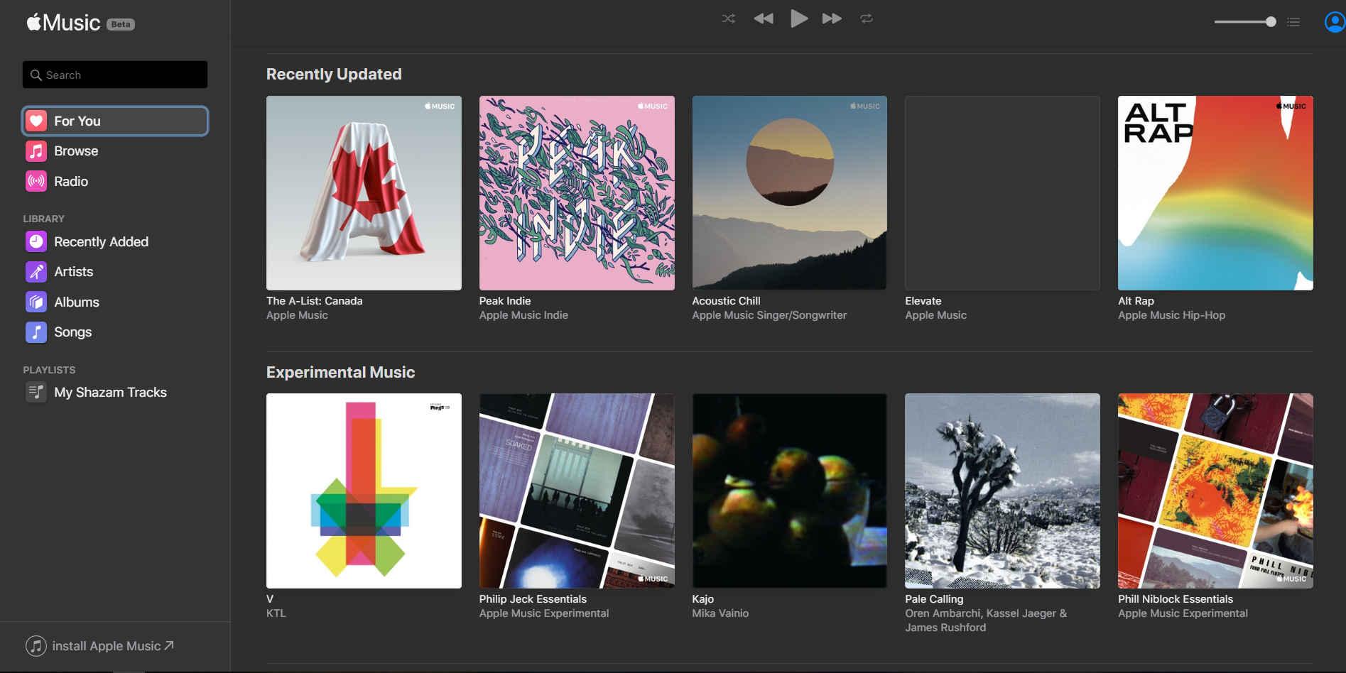 Apple Music en version web dans le navigateur